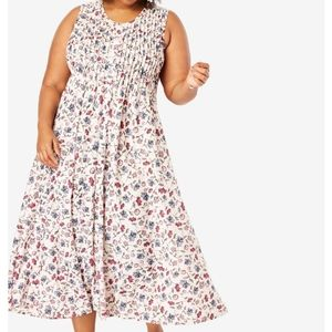 Woman Within 2x floral print dress pleated dress